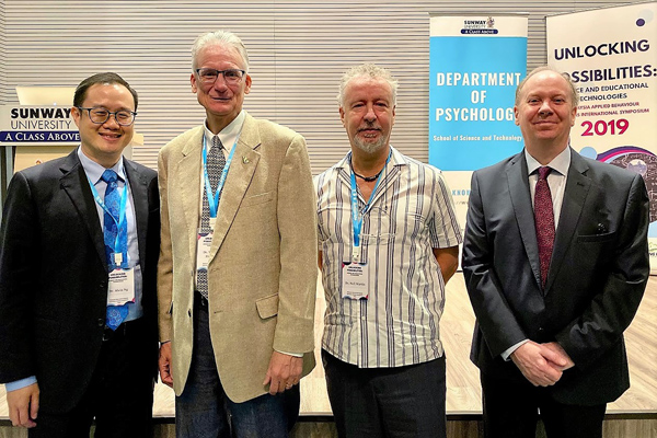 Keynote speakers, Prof William Heward and Dr Neil Martin flanked by HOD Psychology, Assoc Prof Dr Alvin Ng and Sunway University Vice Chancellor, Prof Graeme Wilkinson.