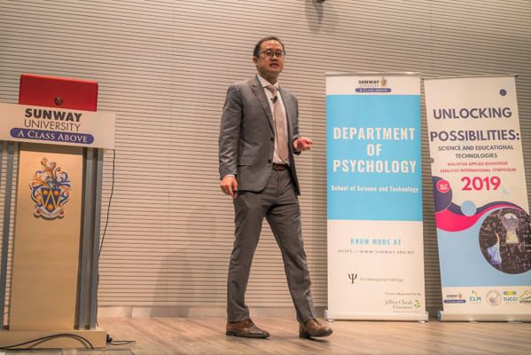 Assoc Prof Dr Alvin Ng delivered an action-packed presentation on behavioural fluency-building applied to education that drew lots of laughter from the audience. (Photo credit: Dr Jeremy H. Greenberg)